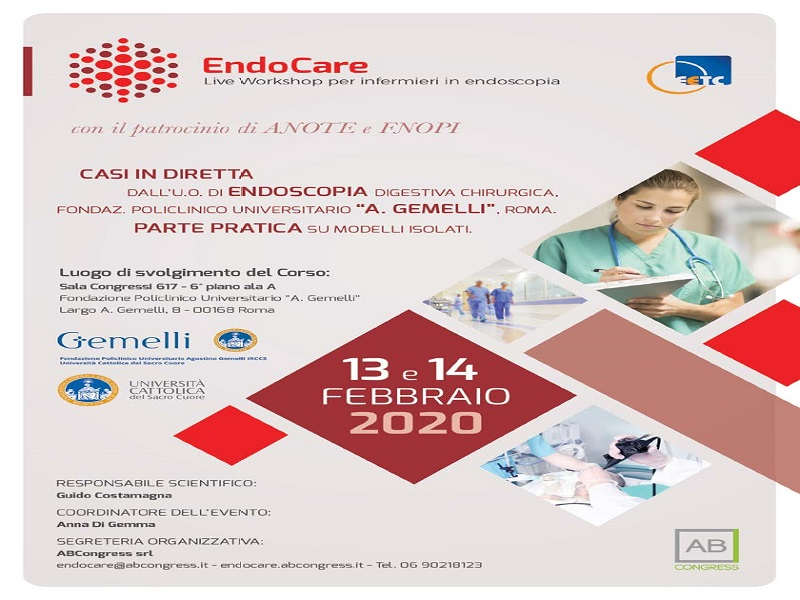 13-14 Febbraio 2020, ENDOCARE – LIVE WORKSHOP PER INFERMIERI IN ENDOSCOPIA
